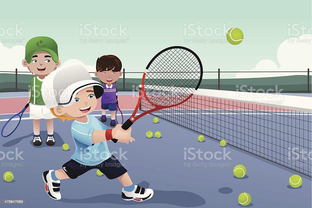 Kids in tennis practice royalty-free stock vector art