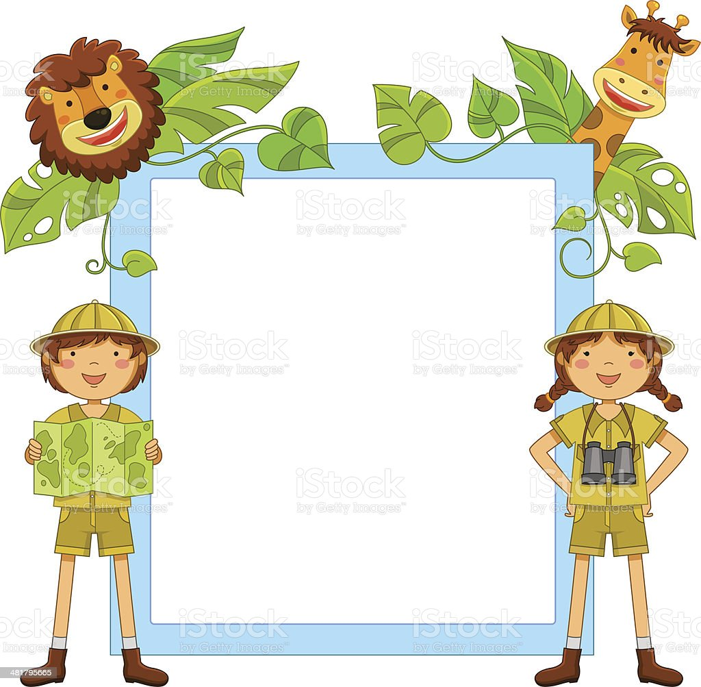 kids in the jungle vector art illustration