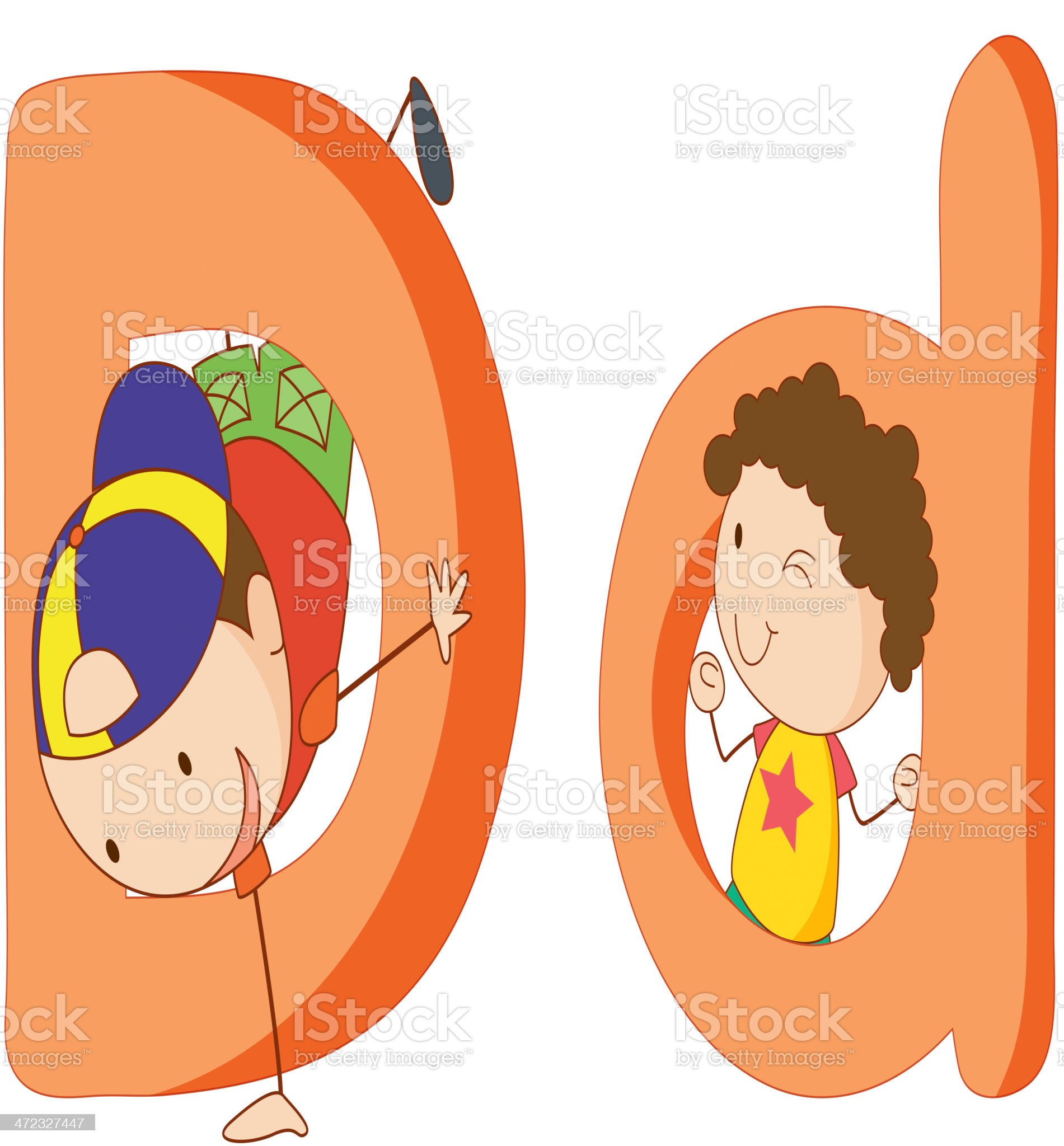 Kids in the letters series royalty-free stock vector art