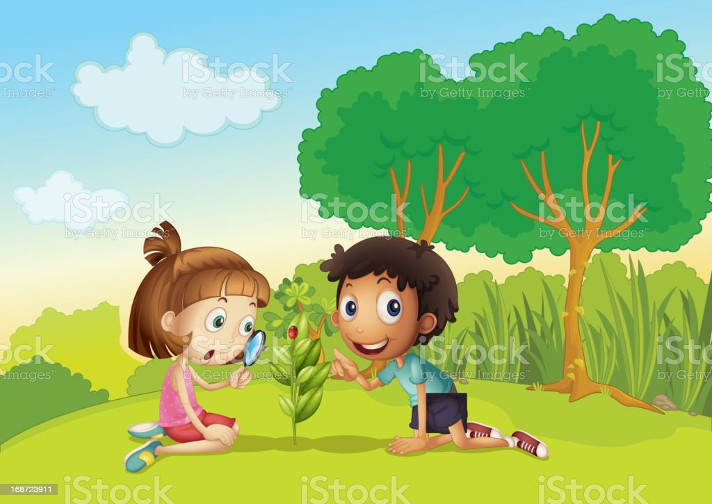 Kids in the park royalty-free stock vector art