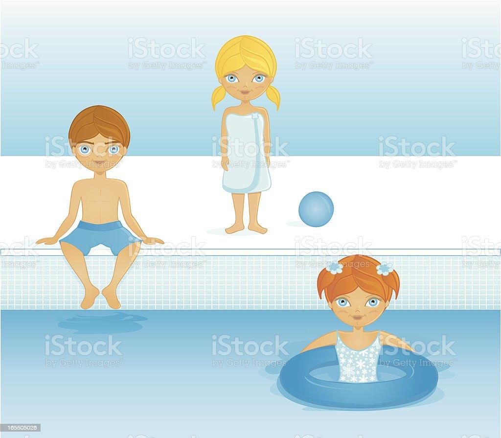 Kids in the pool vector art illustration