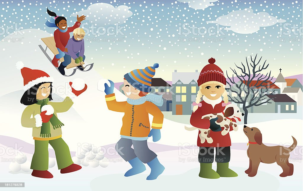 Kids in the snow vector art illustration