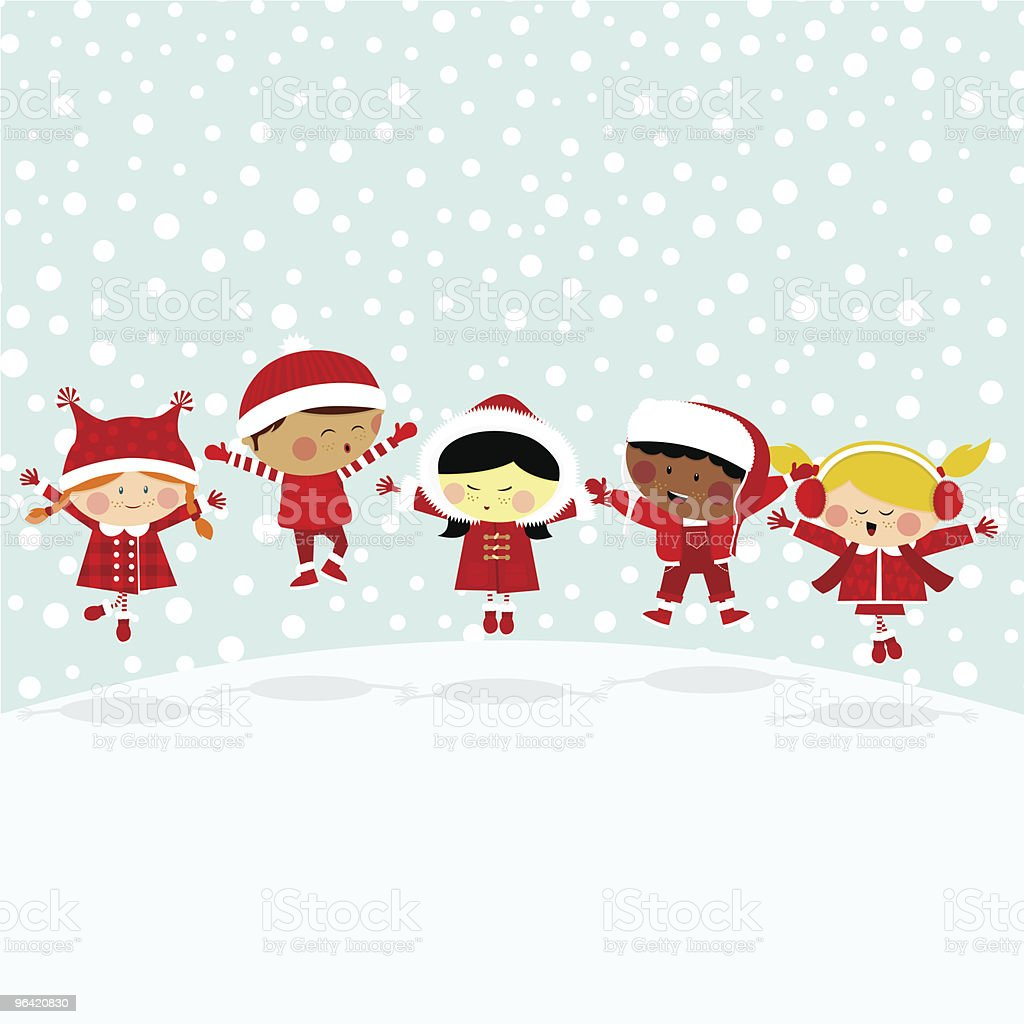 Kids in the snow.Multicultural royalty-free stock vector art