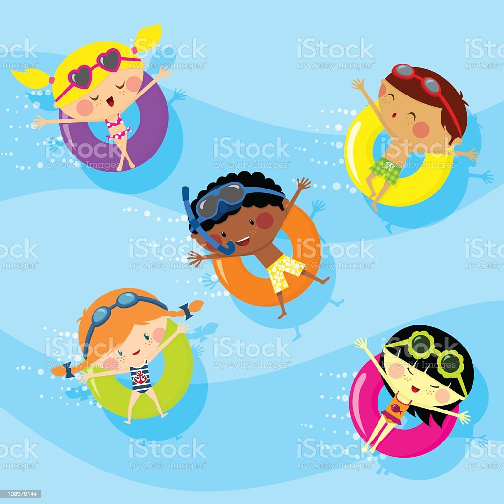 Kids in the swimming pool vector art illustration