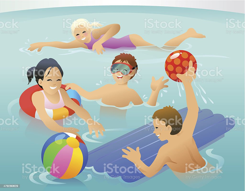 Kids in the water vector art illustration