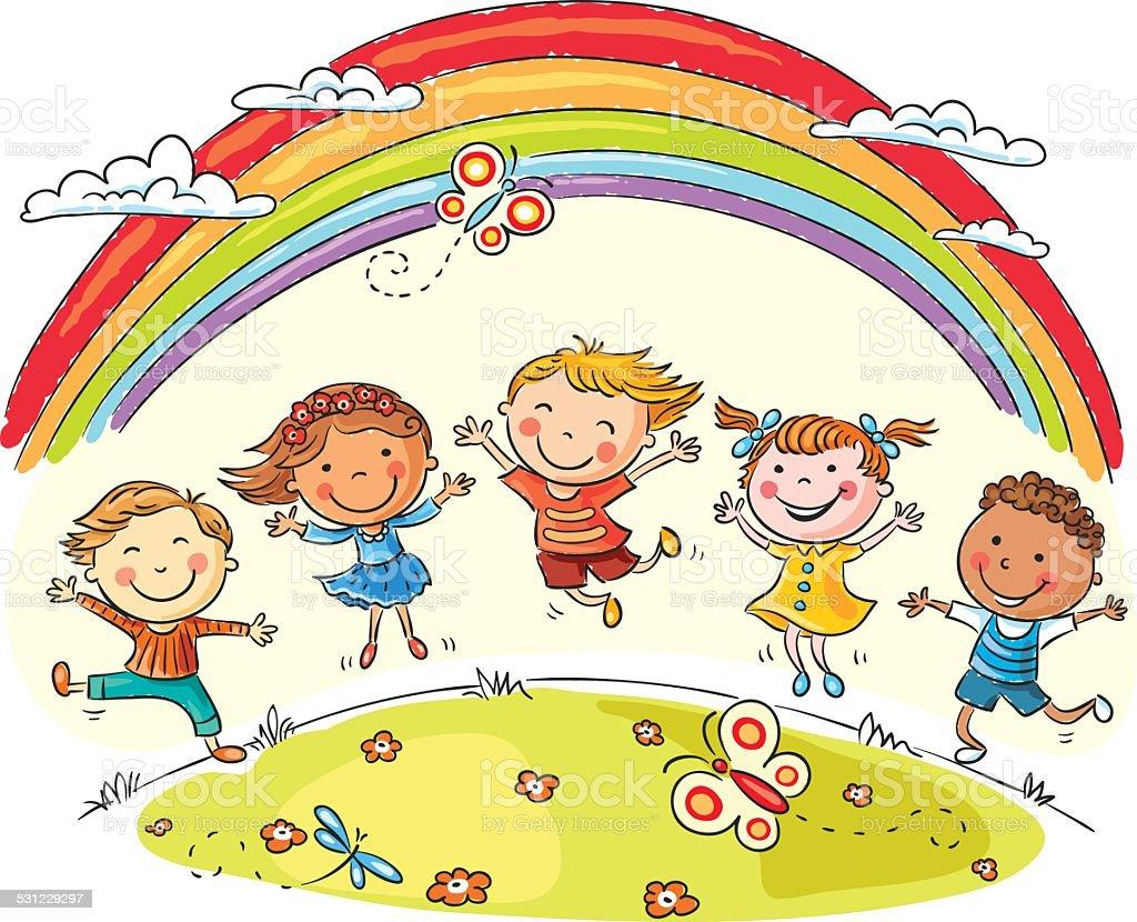 Kids jumping with joy under rainbow vector art illustration