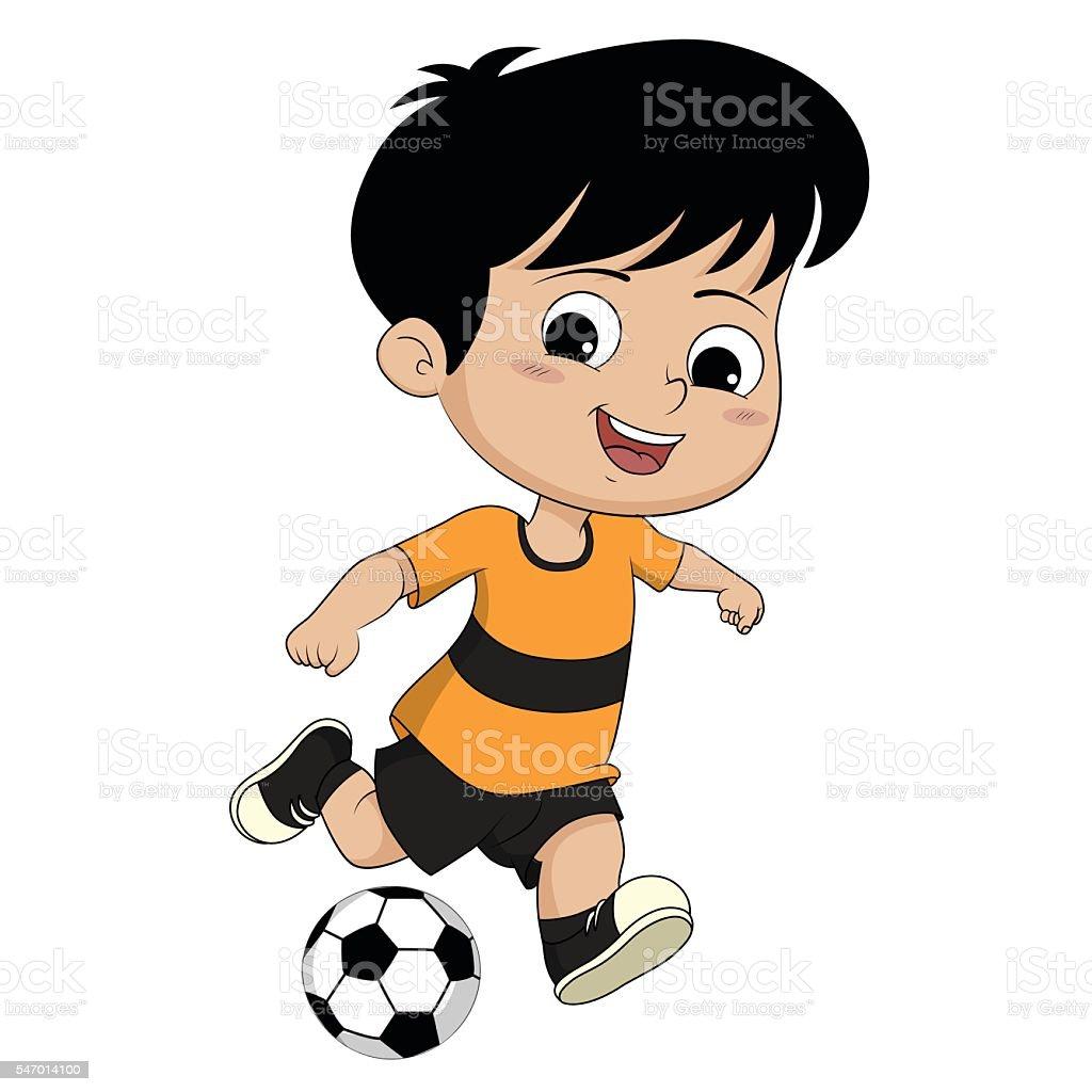 Kids kicking football. stock vecteur libres de droits libre de droits