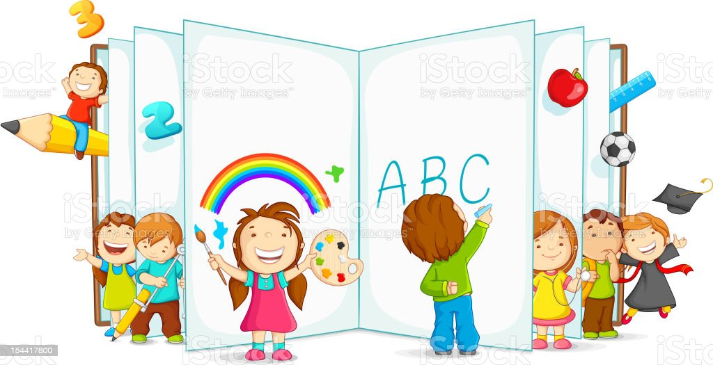 Kids learning and playing royalty-free stock vector art