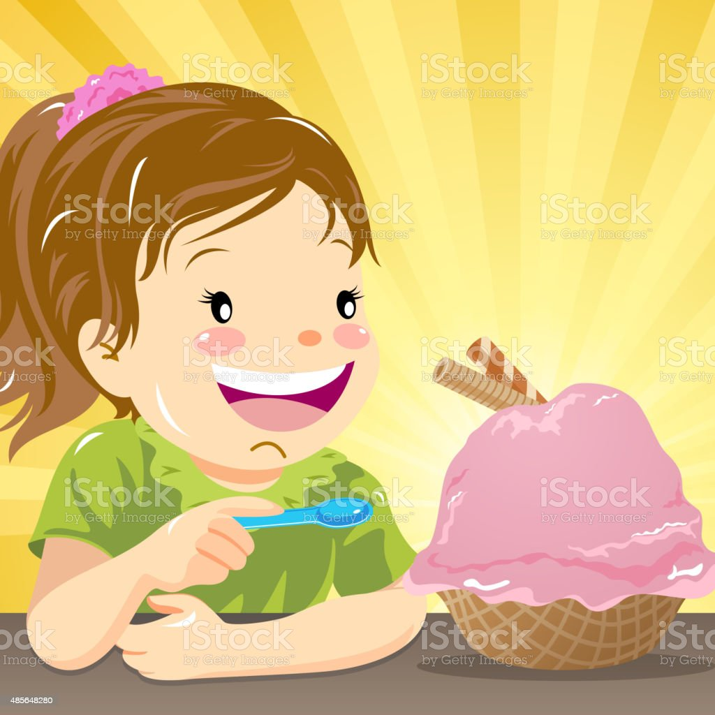Kids love ice-cream vector art illustration