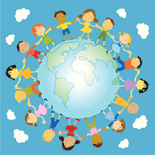 Multiethnic Group Of Babies Around The Earth Planet Clip Art ...