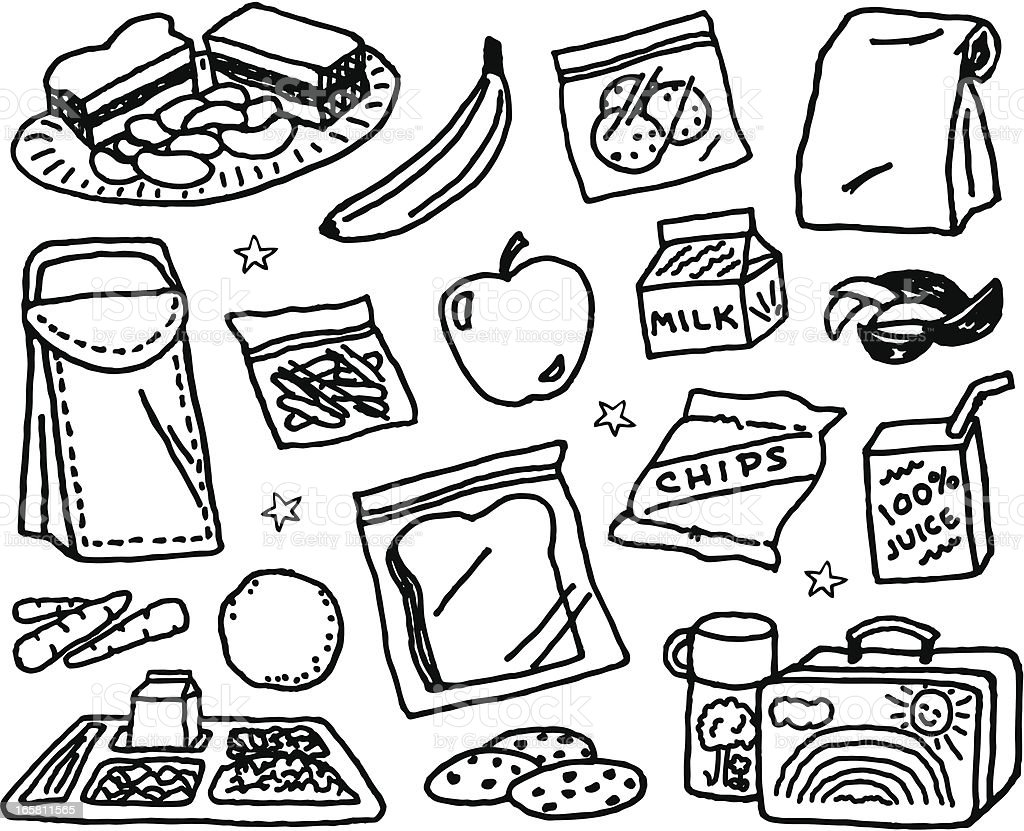 Kids Lunch vector art illustration