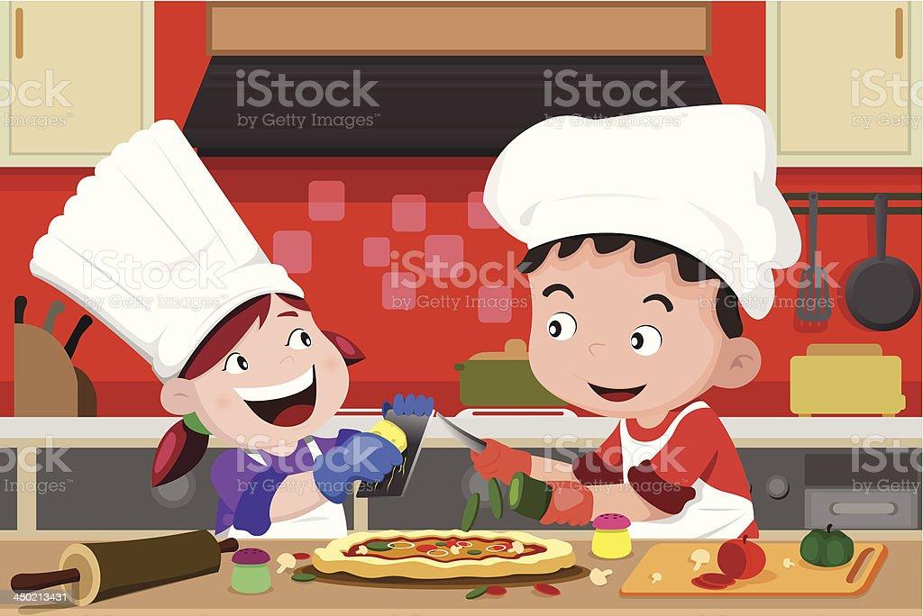 Kids making pizza in the kitchen vector art illustration