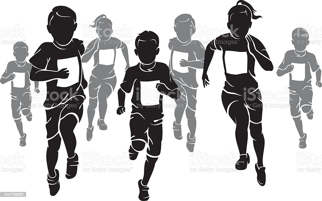 Kids Marathon vector art illustration