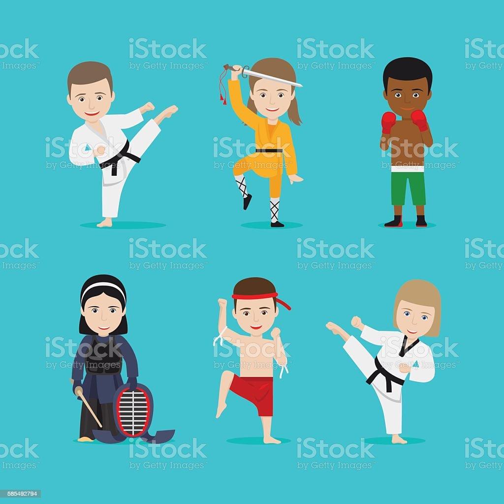 Kids martial arts vector icons vector art illustration