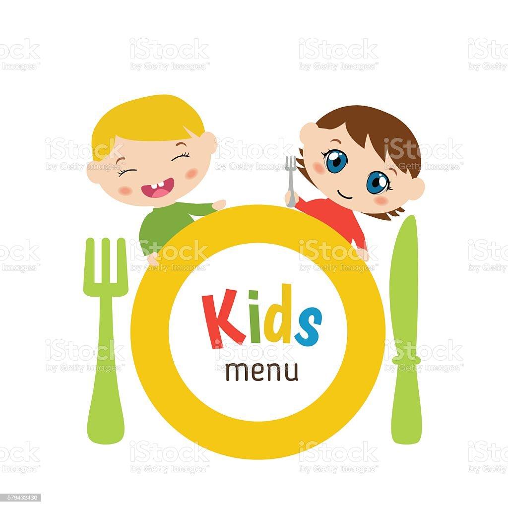 Kids menu design vector art illustration