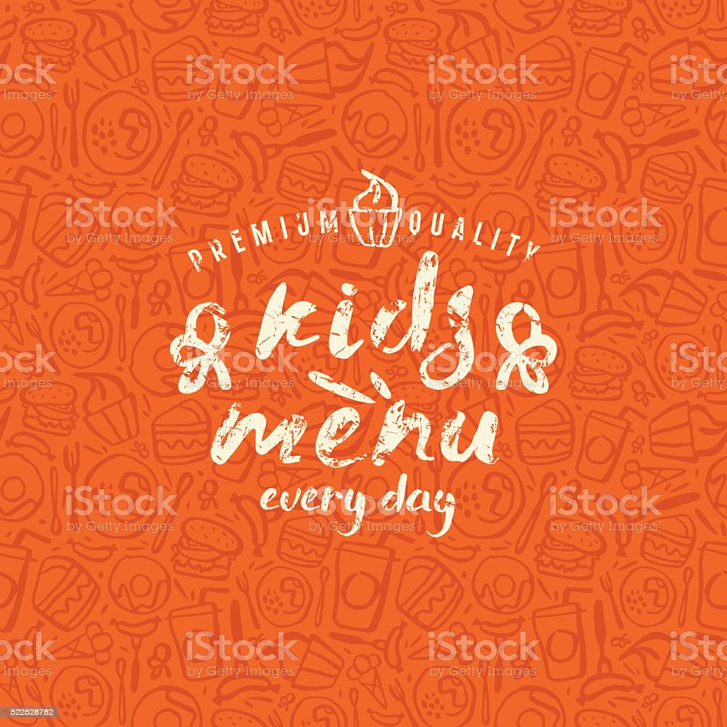 Kids menu label and fast food seamless pattern vector art illustration