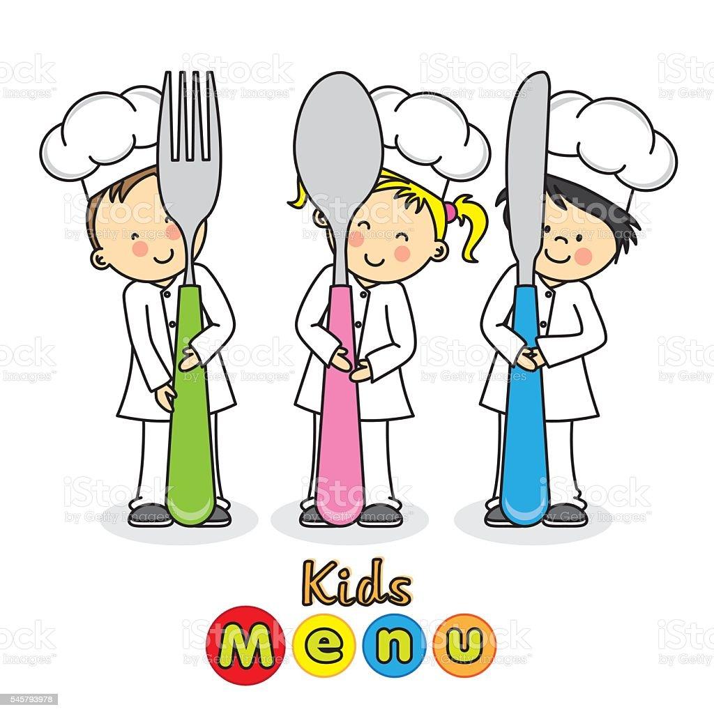 kids menu vector art illustration