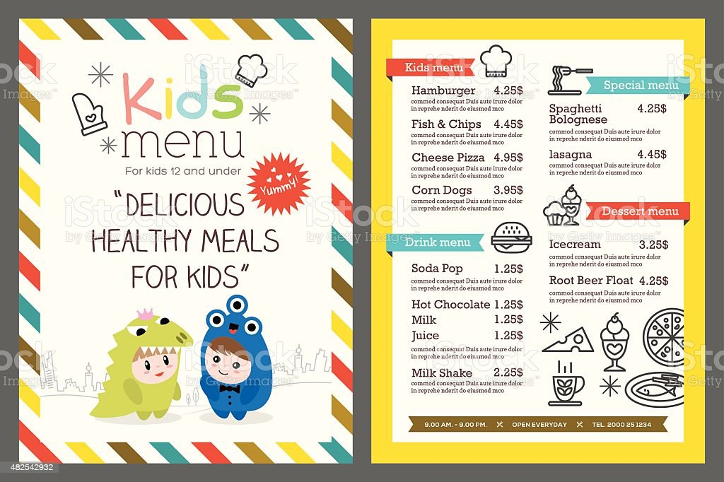 kids menu vector template vector art illustration