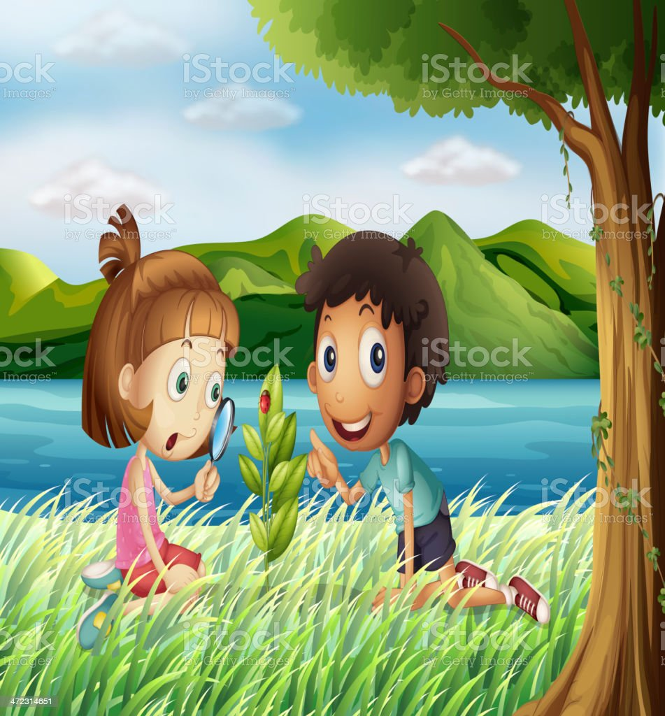Kids near the river with a magnifying glass royalty-free stock vector art