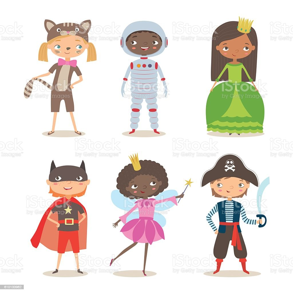 Kids of different nation in costumes for party or holiday vector art illustration