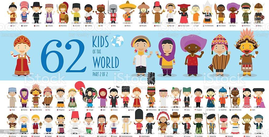 Kids of the World Part 2: 62 children characters vector art illustration
