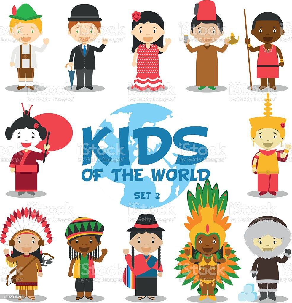 Kids of the world vector illustration: Nationalities Set 2. vector art illustration