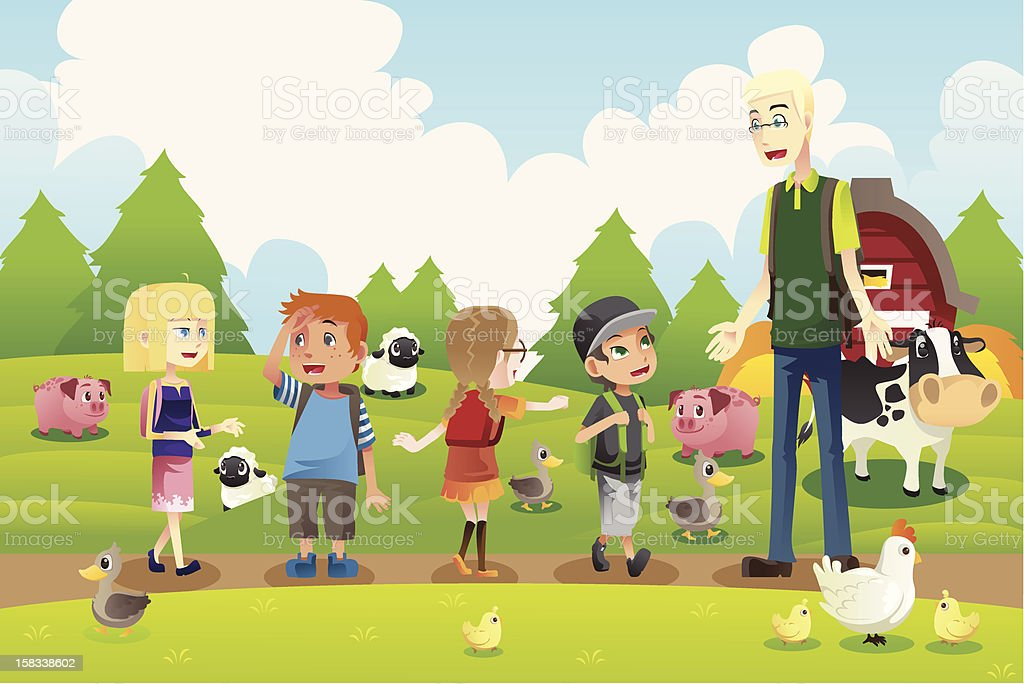 Kids on a field trip to farm vector art illustration