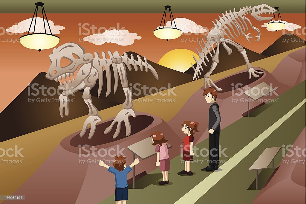 Kids on a field trip to museum vector art illustration