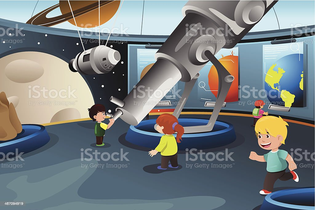 Kids on a field trip to planetarium vector art illustration
