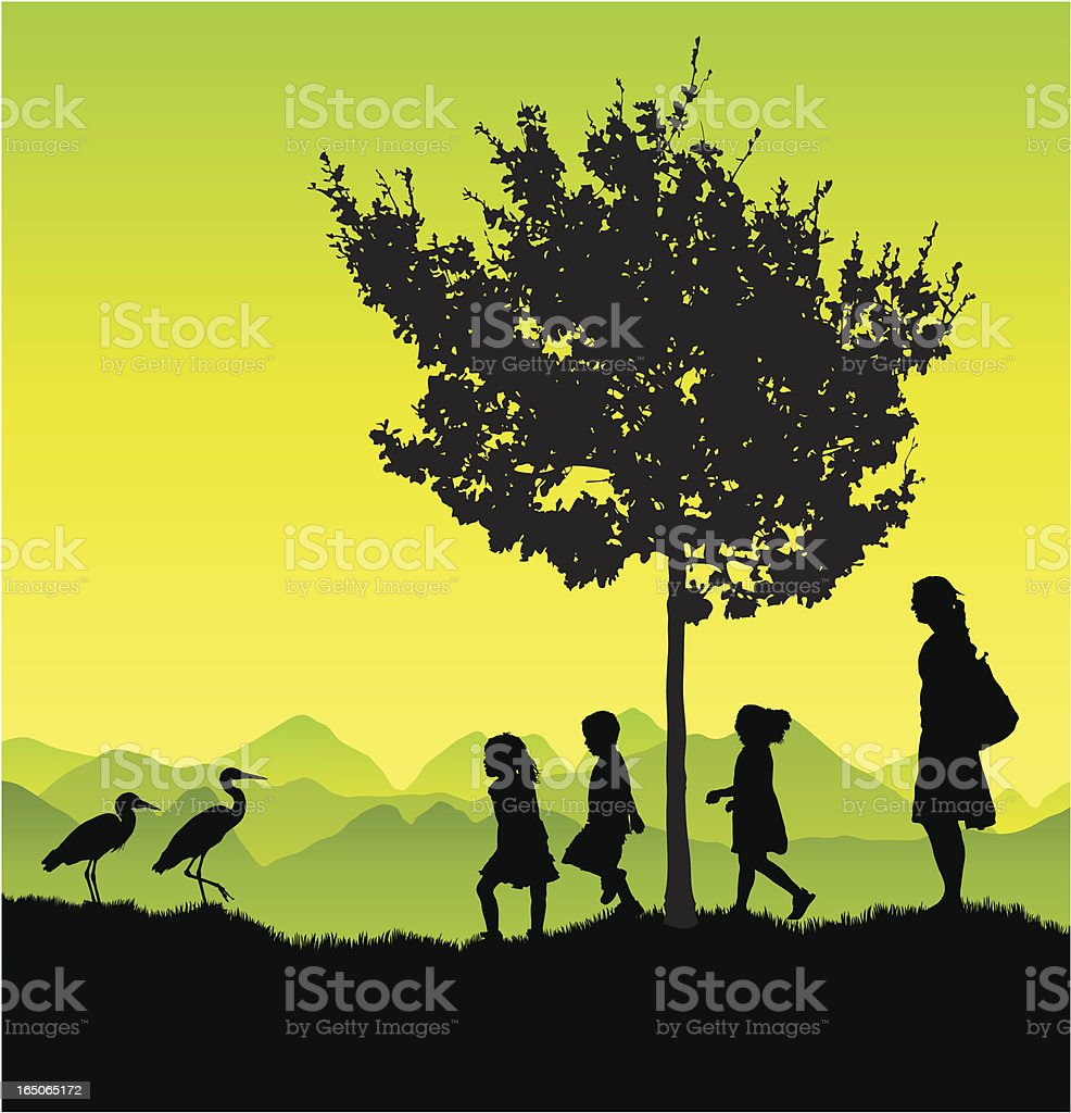 Kids on a nature trip vector art illustration