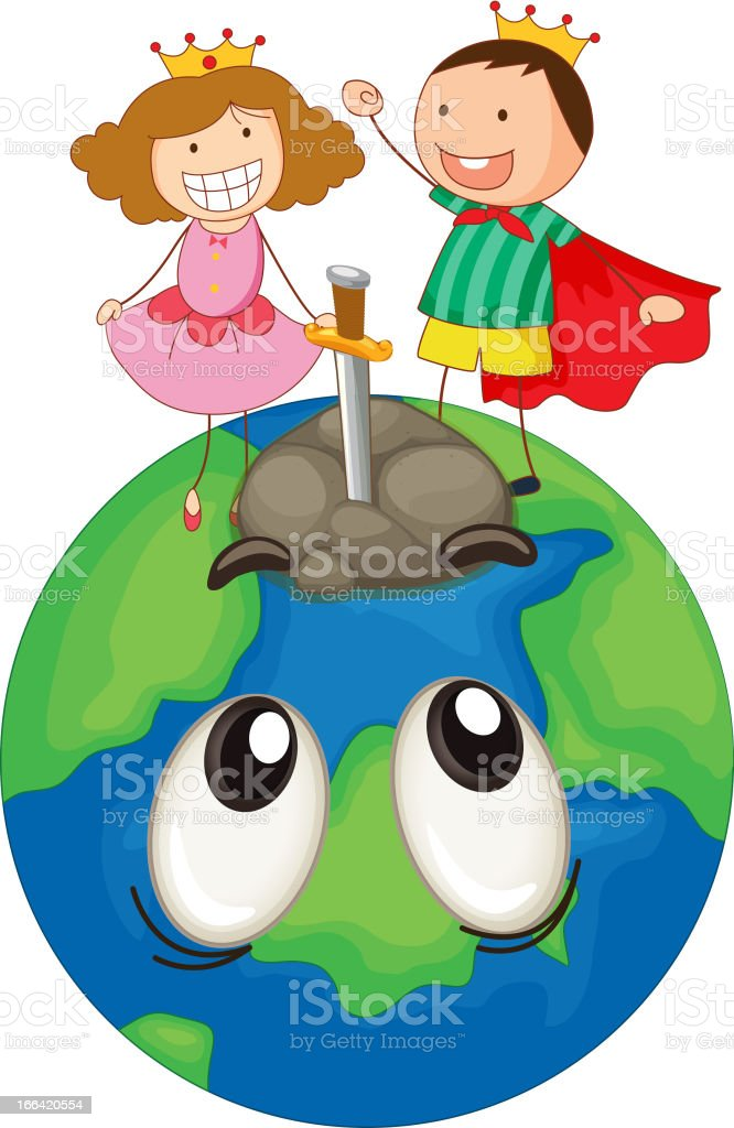 Kids on earth planet royalty-free stock vector art