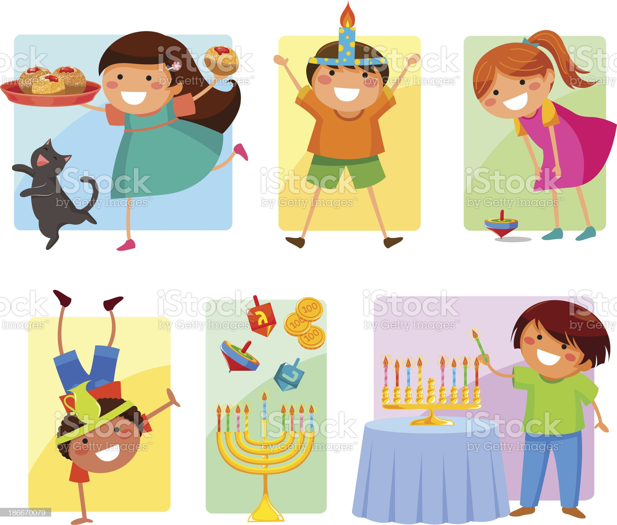 kids on Hanukkah royalty-free stock vector art