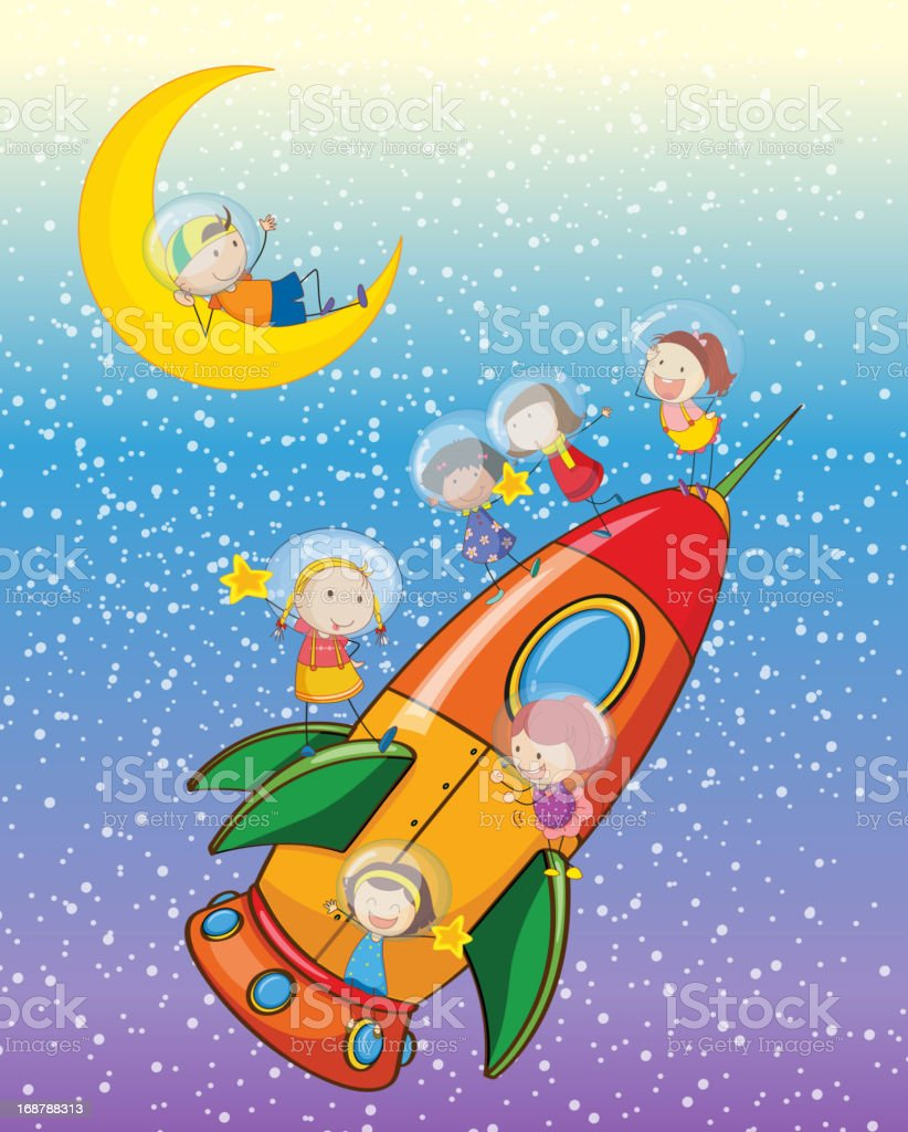 Kids on moon and spaceship royalty-free stock vector art