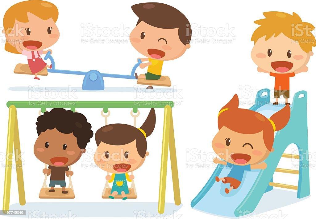 Kids on playground vector art illustration