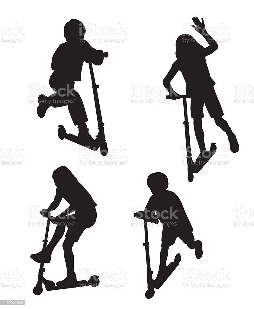 Kids On Scooters vector art illustration