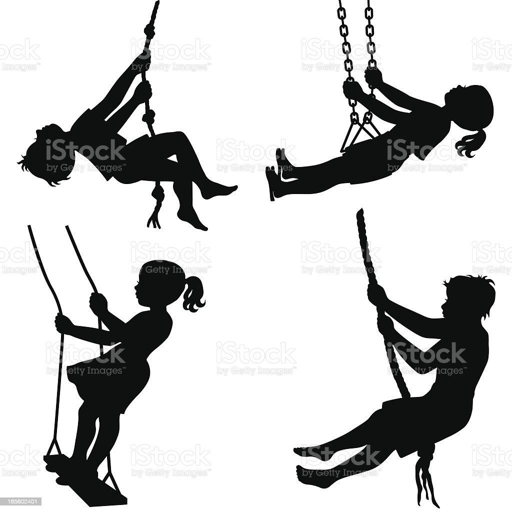 Kids on swings royalty-free stock vector art