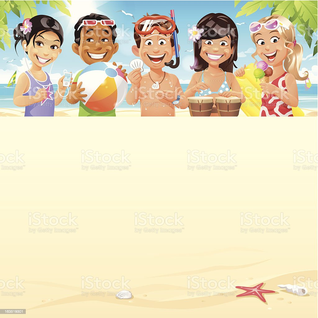 Kids On The Beach vector art illustration