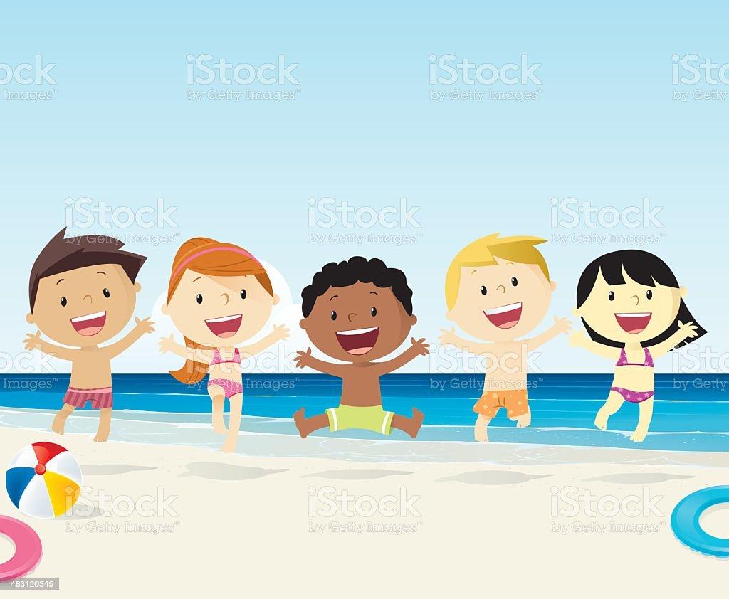 Kids on the beach royalty-free stock vector art