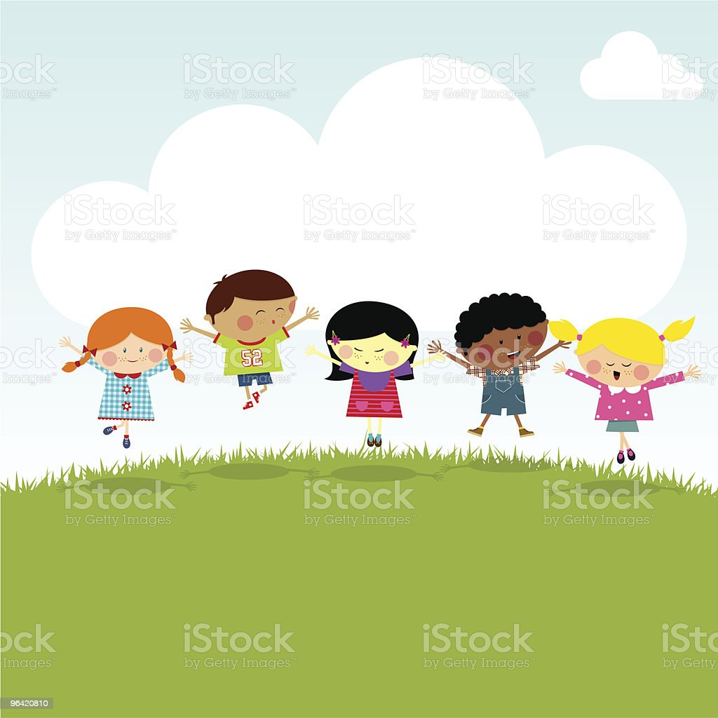 Kids on the hill happy jumping vector illustration myillo royalty-free stock vector art