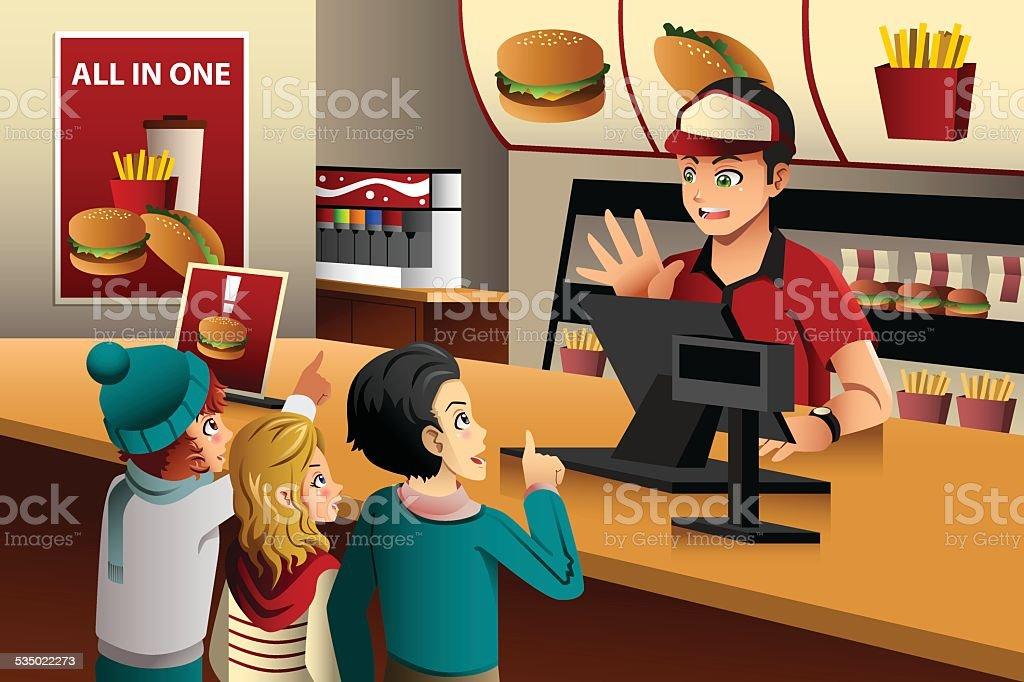 Kids ordering food at a restaurant vector art illustration