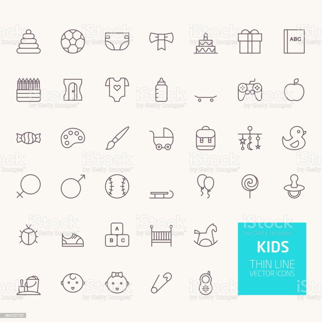 Kids Outline Icons for web and mobile apps vector art illustration