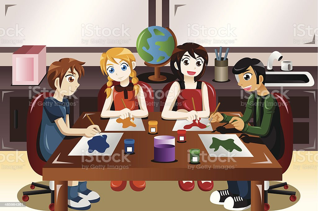 Kids painting together in an art class vector art illustration