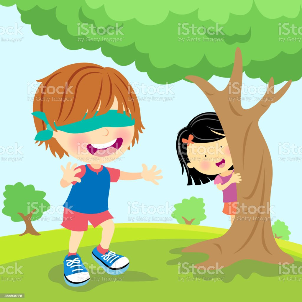 Kids Palying Blindfold Hide and Seek vector art illustration