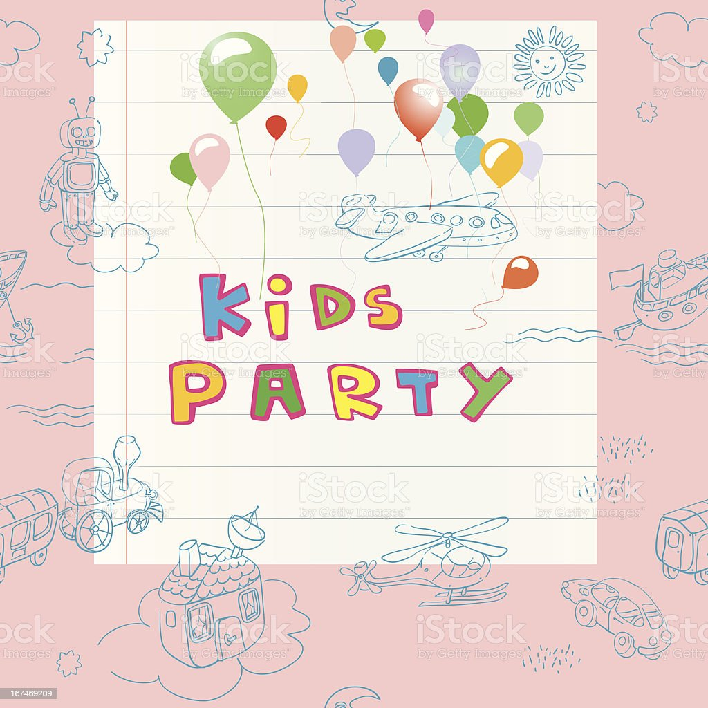 Kids party card royalty-free stock vector art