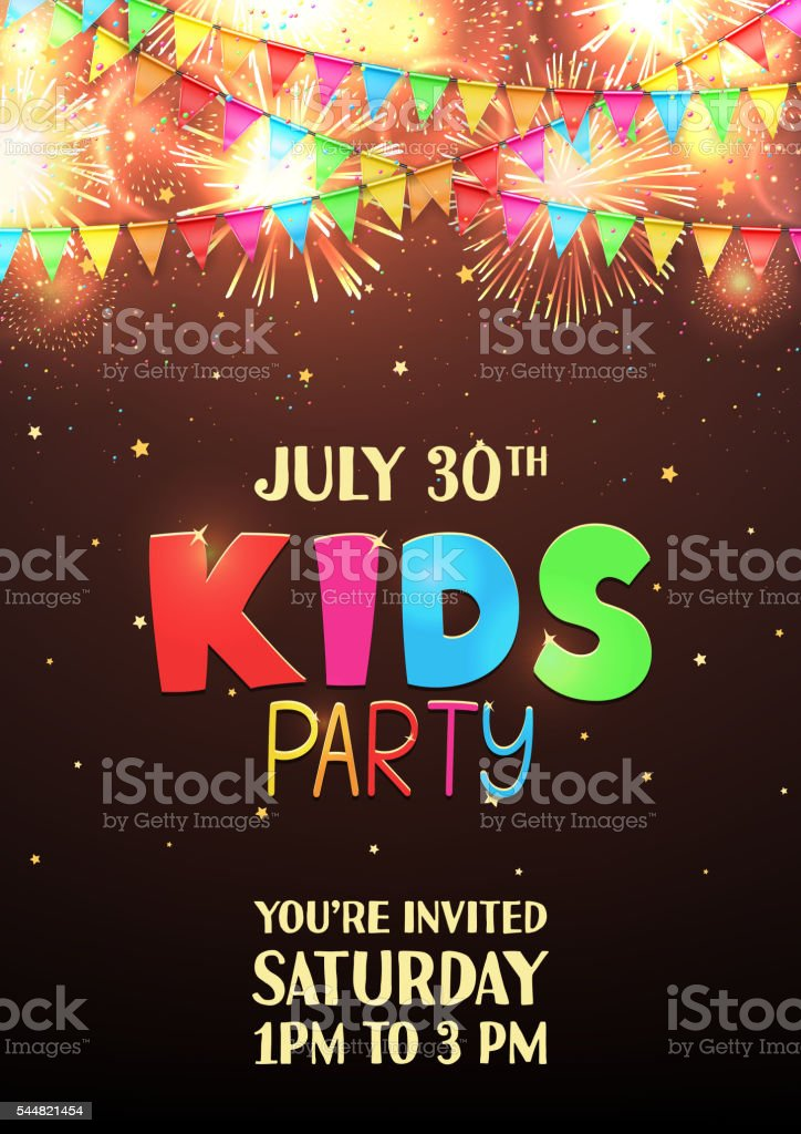 Kids party flyer template royalty-free stock vector art