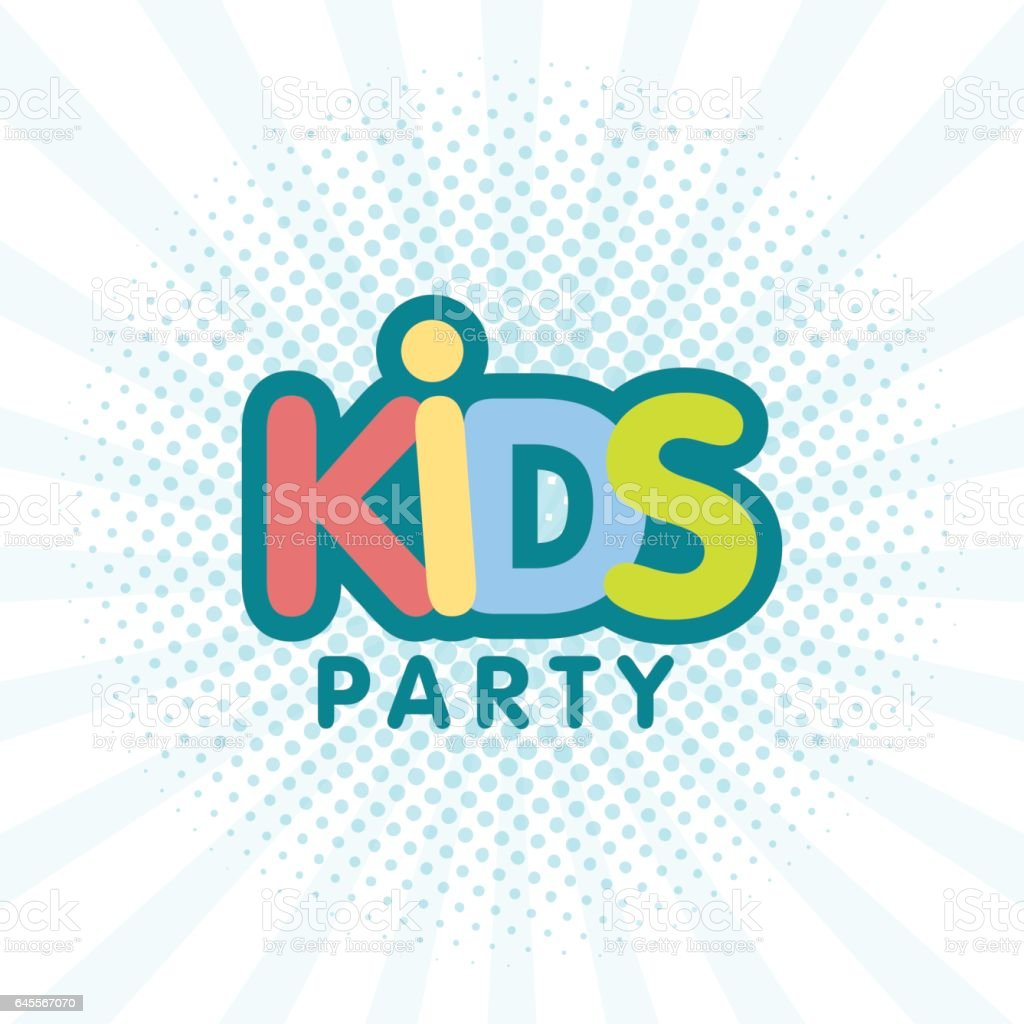 Kids party letter sign poster vector art illustration