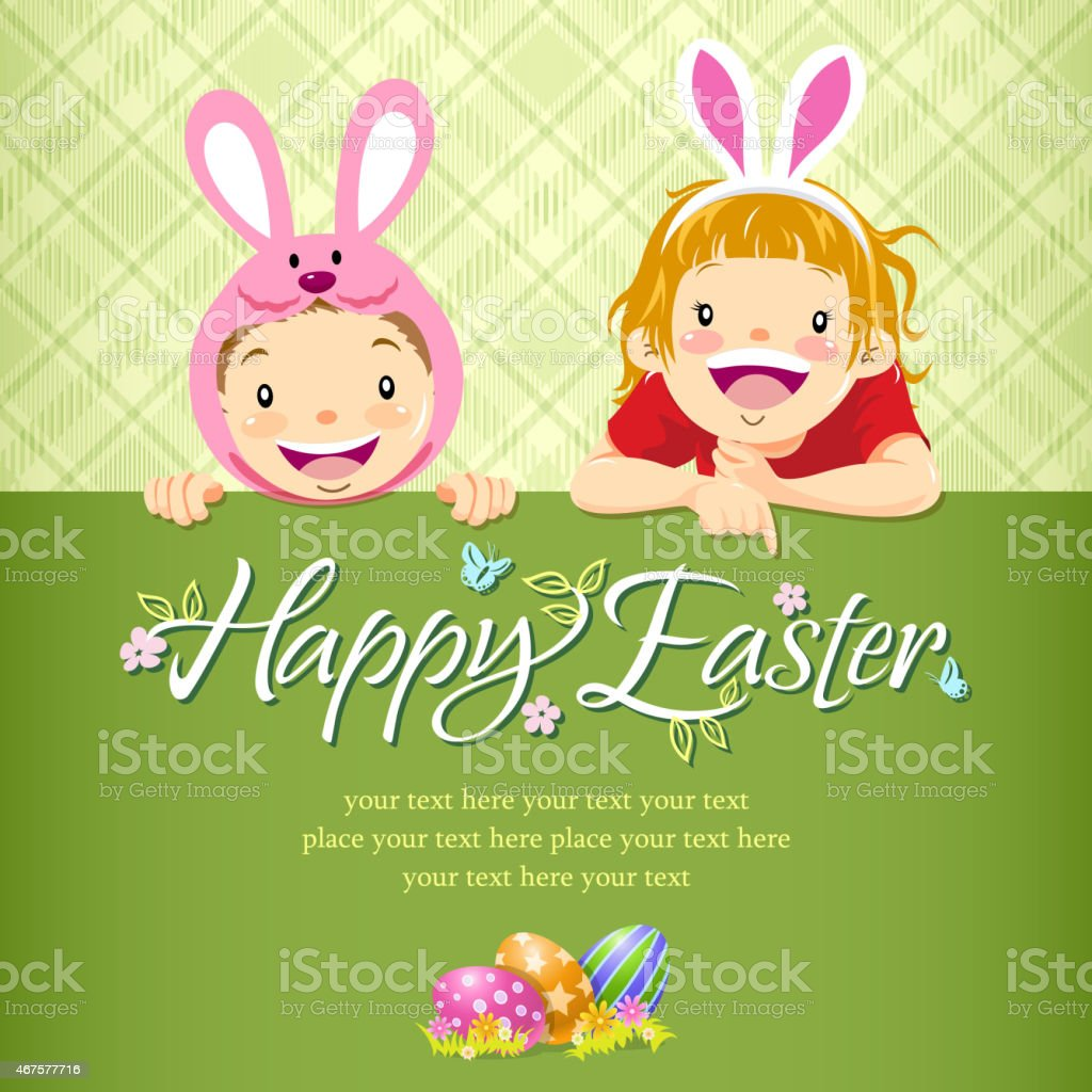 Kids Paying Easter Egg Hunt Notice vector art illustration