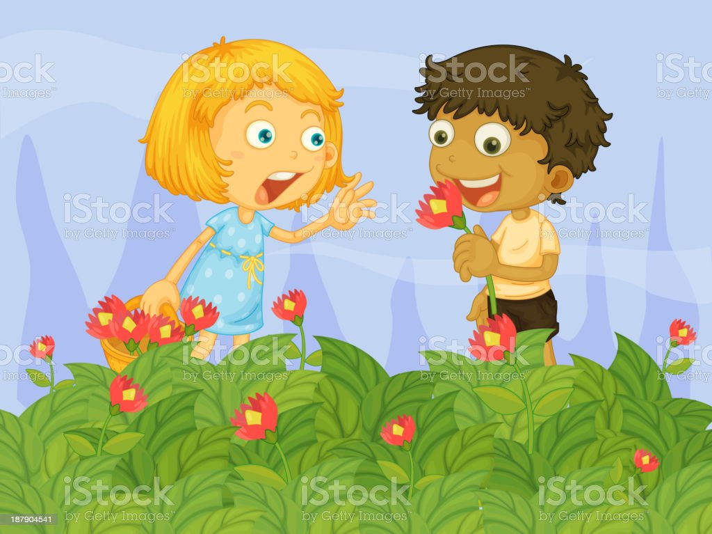 Kids picking up flowers in the garden royalty-free stock vector art