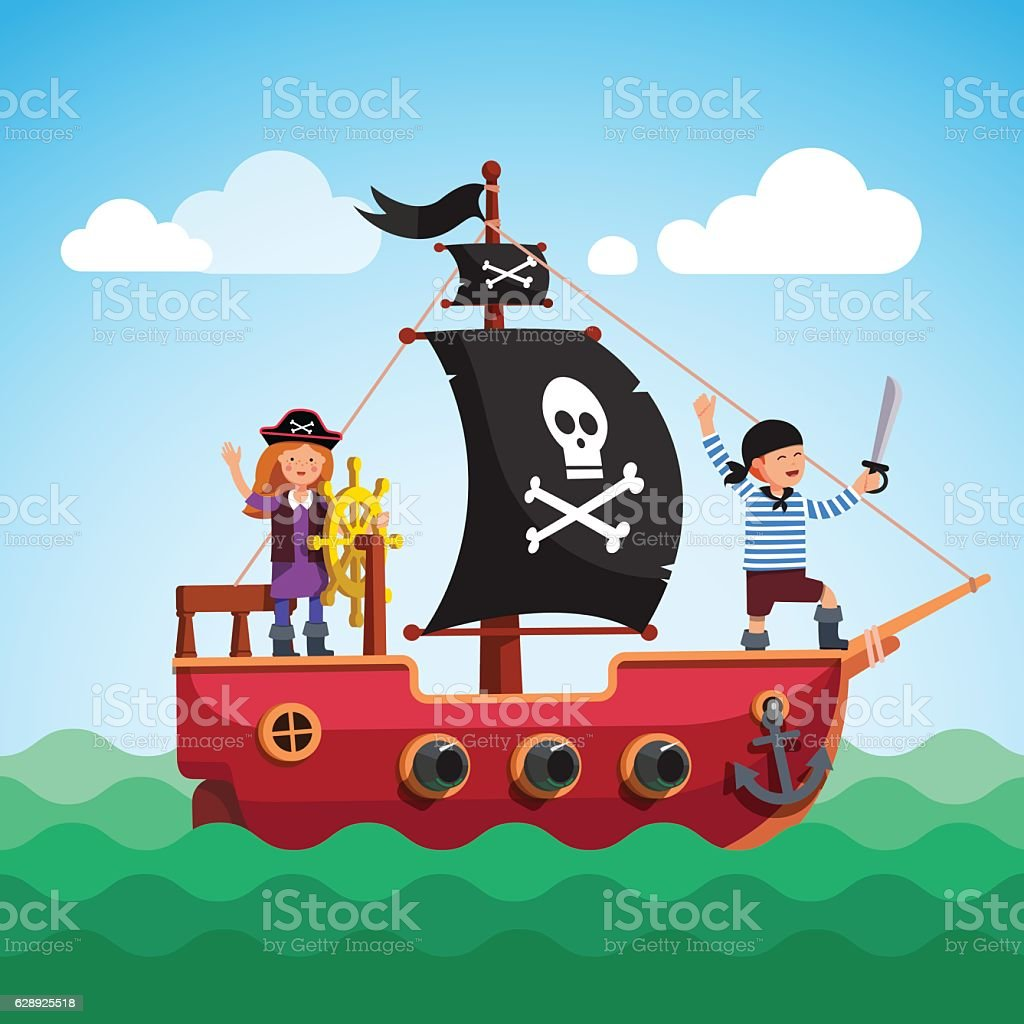 Kids pirate ship sailing in the sea with flag vector art illustration