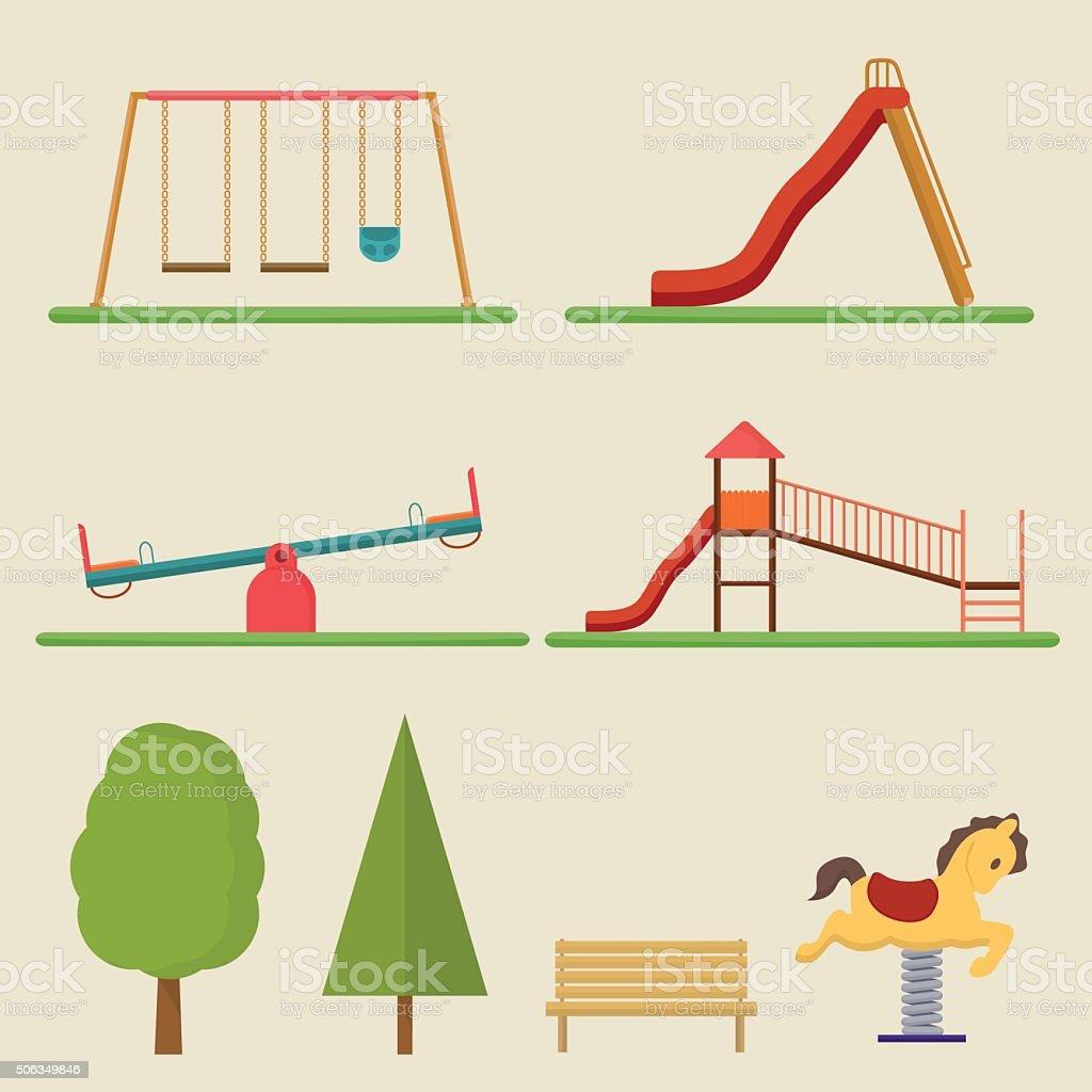 Kids playground elements vector art illustration